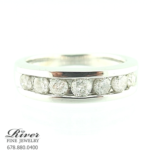 10k White Gold Ladies Diamond Wedding Ring 1.00Ct Total Weight