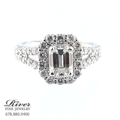 14K White Gold Halo Diamond Engagement Ring 1.60Ct Total Weight