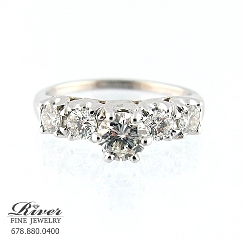 14K White Gold Classic Diamond Engagement Ring 1.10Ct Total Weight