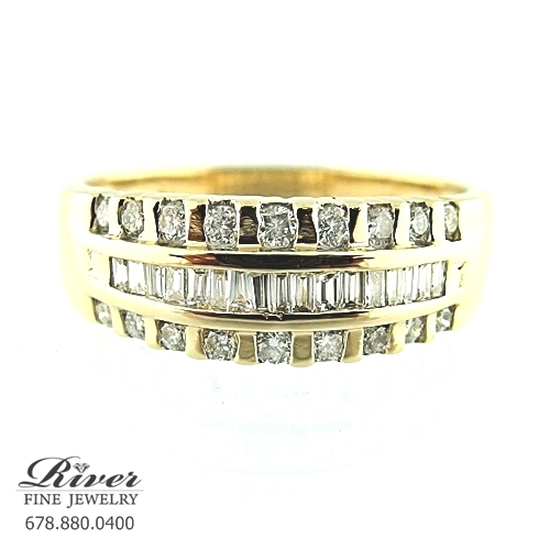 14k Yellow Gold Ladies Fancy Wedding Band 0.70Ct Total Weight