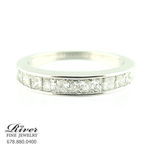 14k White Gold Ladies Diamond Wedding Ring 1.00Ct Total Weight