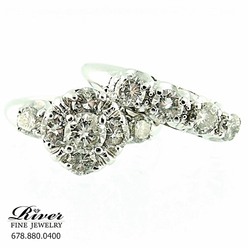 14k White Gold Ladies Engagement Ring Set 2.00Ct Total Weight