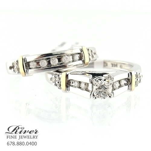 14k Two Tone Ladies Engagement Ring Set 0.75Ct. Total Weight