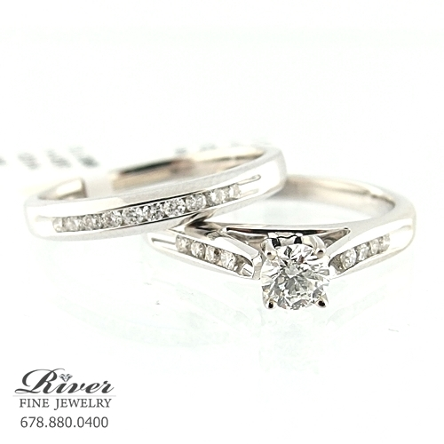 14k White Gold Ladies Engagement Ring Set 0.75Ct.Total Weight