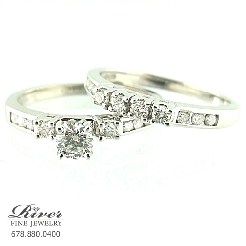 14k White Gold Ladies Engagement Ring Set 1.25Ct. Total Weight