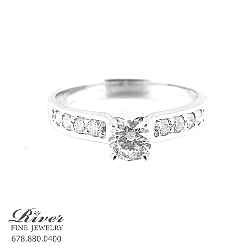 14k White Gold Classic Diamond Engagement Ring 0.60Ct Total Weight