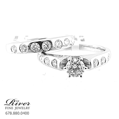 14k White Gold Ladies Engagement Ring Set 1.05Ct Total Weight