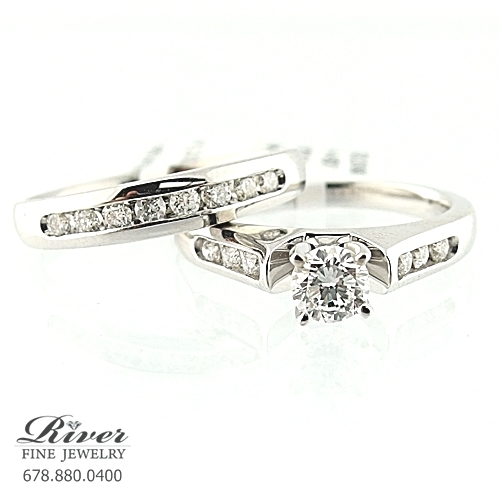 14k White Gold Ladies Engagement Ring Set 0.75Ct Total Weight