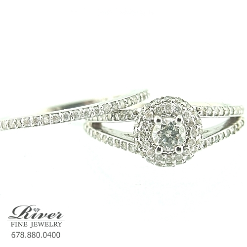 14k White Gold Ladies Engagement Ring Set 1.00Ct Total Weight