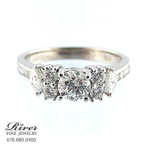 14k White Gold Fancy Engagement Ring 1.30Ct Total Weight