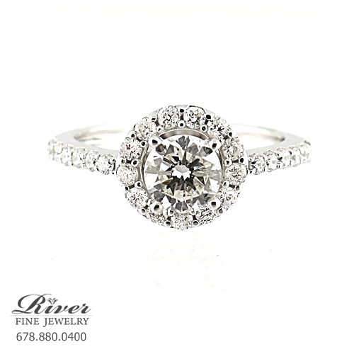 14k White Gold Halo Diamond Engagement Ring 1.05Ct Total Weight