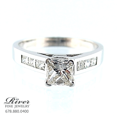 14k White Gold Channel Diamond Engagement Ring 1.00Ct Total Weight