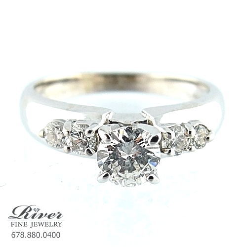 14k White Gold Classic Diamond Engagement Ring 1.00Ct Total Weight
