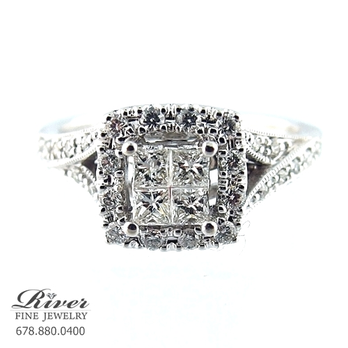14k White Gold Fancy Engagement Ring 0.70Ct Total Weight