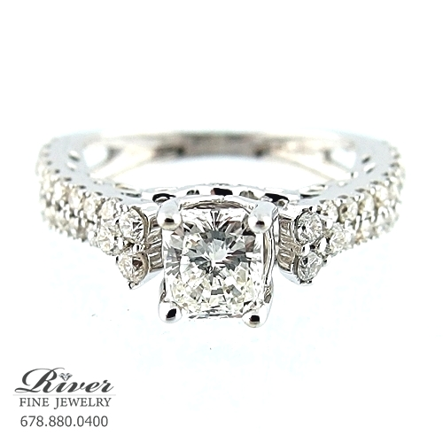 14k White Gold Fancy Engagement Ring 2.00Ct Total Weight