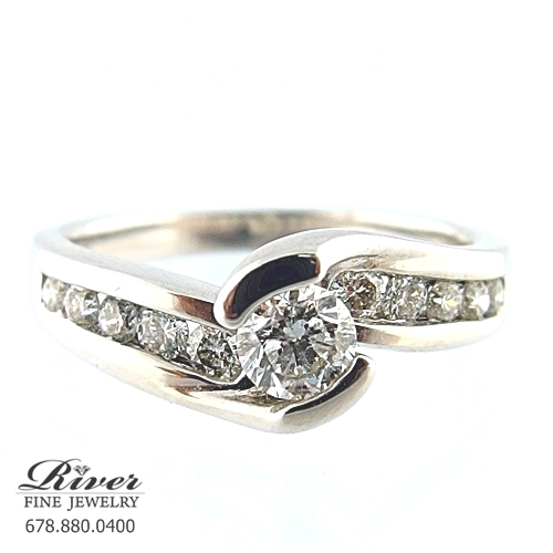 14k White Gold Channel Diamond Engagement Ring 0.75Ct Total Weight