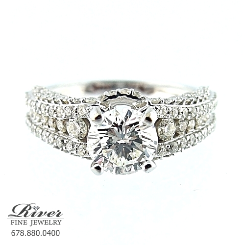 14K White Gold Fancy Engagement Ring 2.20Ct Total Weight
