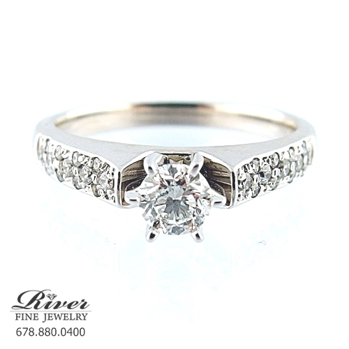 14k White Gold Classic Diamond Engagement Ring 0.65Ct Total Weight