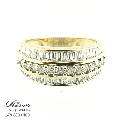 14k Yellow Gold Ladies Fancy Wedding Band 1.00Ct Total Weight