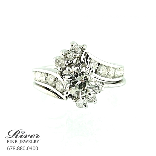 14k White Gold Ladies Engagement Ring Set 1.25Ct Total Weight