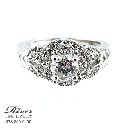 14K White Gold Vintage Diamond Engagement Ring 0.75Ct Total Weight