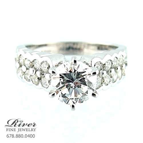 14k White Gold Classic Diamond Engagement Ring 2.10Ct Total Weight