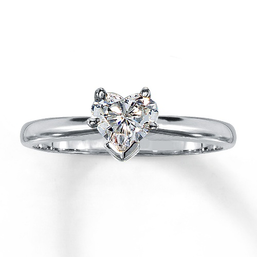 14k White Gold Heart Diamond Solitaire Engagement Ring