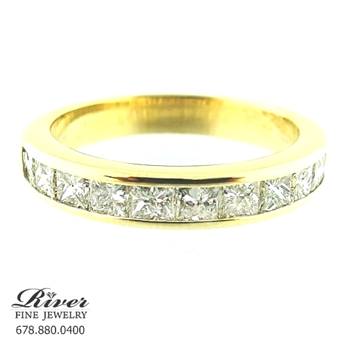 18k Yellow Gold Ladies Diamond Wedding Ring 1.45Ct Total Weight
