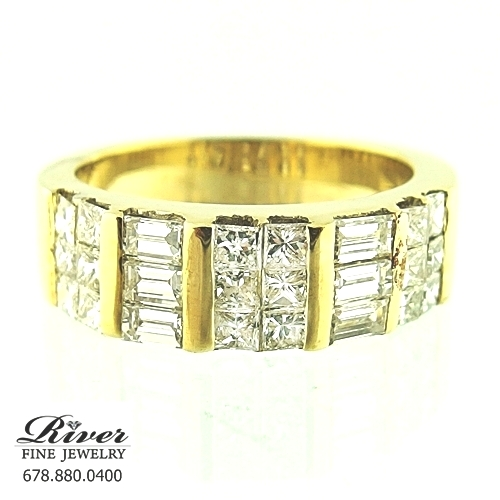 18k Yellow Gold Ladies Diamond Fancy Wedding Band 1.50Ct Total Weight