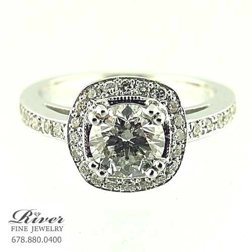 14k White Gold Halo Diamond Engagement Ring 1.30Ct Total Weight