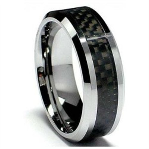 8MM Men's Tungsten Carbide Ring Wedding Band with Black Carbon Fiber Inlay