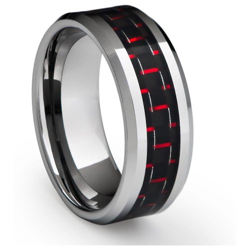 8MM Men's Tungsten Carbide Ring Wedding Band with Red Carbon Fiber Inlay