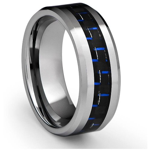 8MM Men's Tungsten Carbide Ring Wedding Band with Blue Carbon Fiber Inlay