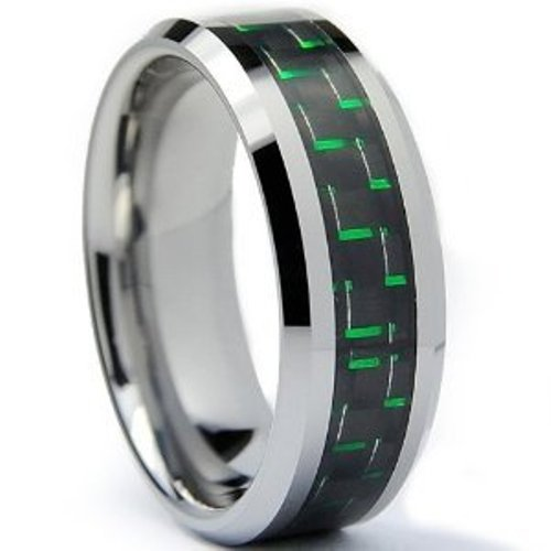 8MM Men's Tungsten Carbide Ring Wedding Band with Green Carbon Fiber Inlay