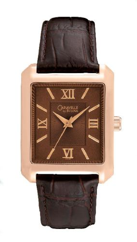 Caravelle by Bulova Men's 44A100 Rose Tone And Brown Color Scheme Watch