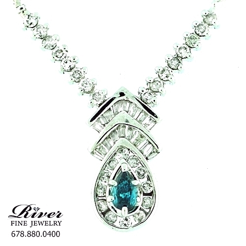 14k White Gold Ladies Diamond Necklace 1.25Ct Total Weight