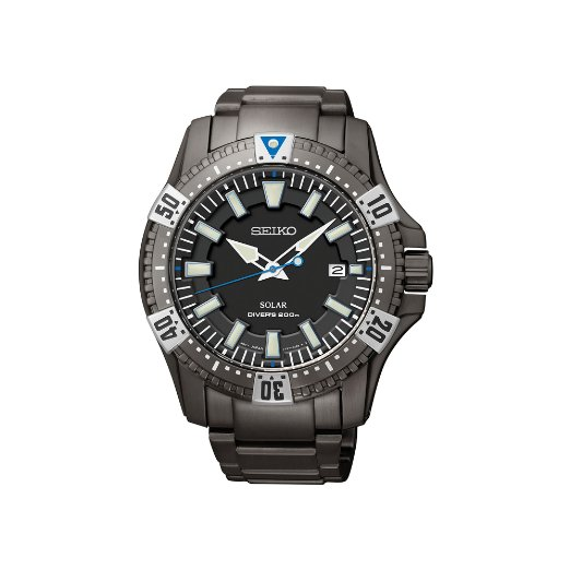Seiko Solar Black Dial Black Ion-plated Mens Watch SNE281