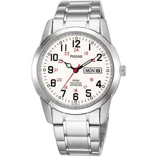Pulsar Men's Silver Watch With White Dial