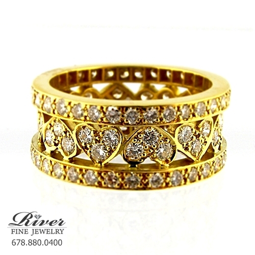 18k Yellow Gold Ladies Diamond Fancy Wedding Band 2.00Ct Total Weight