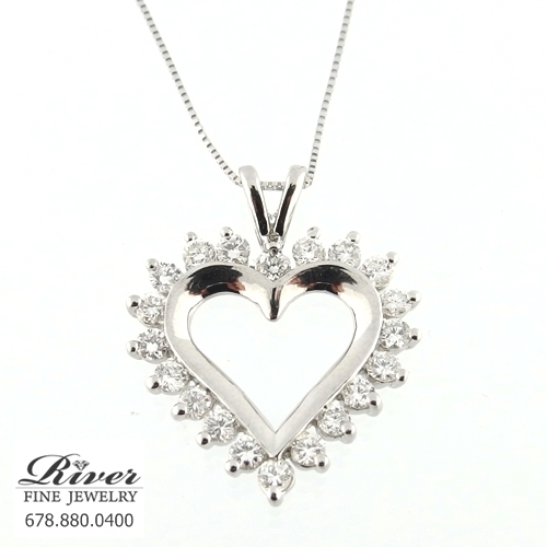 14k White Gold Diamond Heart Pendant 1.00Ct Total Weight
