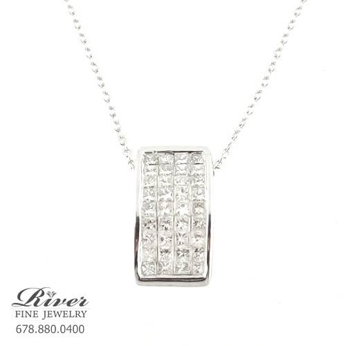 14k White Gold Fancy Diamond Pendant 1.00Ct Total Weight