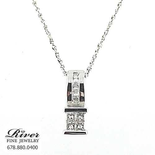 14k White Gold Fancy Diamond Pendant 0.50Ct Total Weight