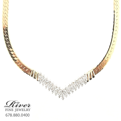 14k Yellow Gold Ladies Diamond Necklace 1.00Ct Total Weight