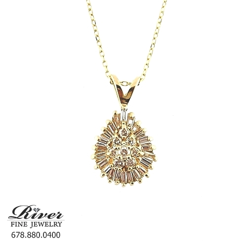 14k Yellow Gold Fancy Diamond Pendant 1.00Ct Total Weight