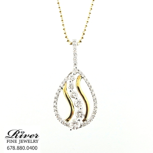 14k Two Tone Fancy Diamond Pendant 1.00Ct Total Weight