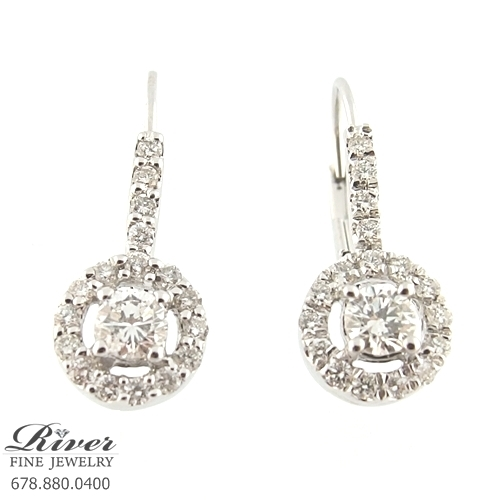 14k White Gold Ladies Fancy Diamond Earring 1.00Ct Total Weight
