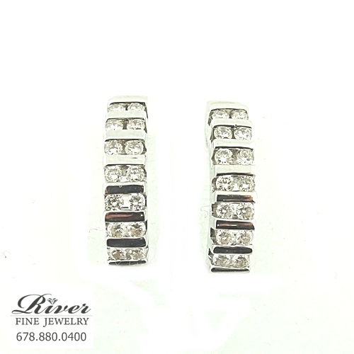 14k White Gold Ladies Diamond Earring 0.75Ct Total Weight