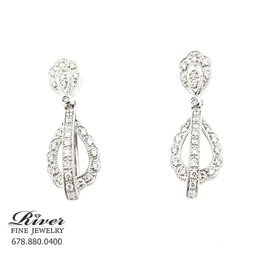 14k White Gold Ladies Fancy Diamond Earring 0.75Ct Total Weight