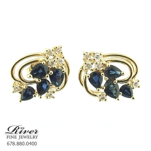 14k Yellow Gold Color Stone Earring 0.25Ct Total Weight
