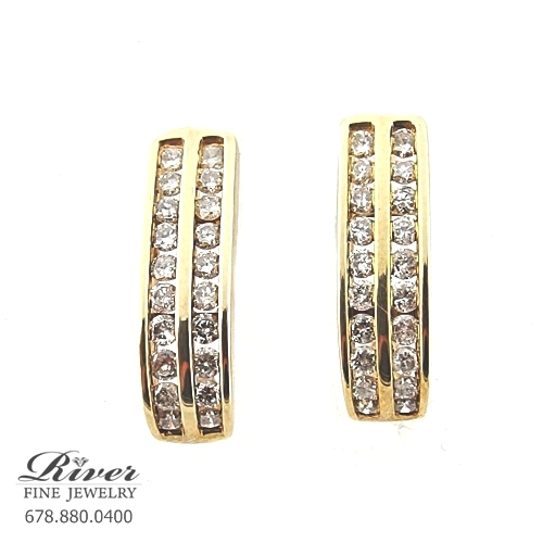 14k Yellow Gold Ladies Diamond Earring 1.00Ct Total Weight